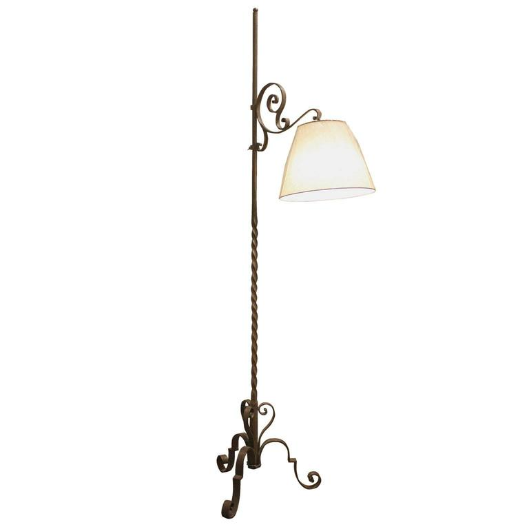 Heavy Wrought Iron with Bronze Finish Floor Lamp with Shade