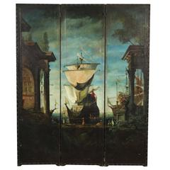 Late 19th-Early 20th Century Hand-Painted Three-Part Screen