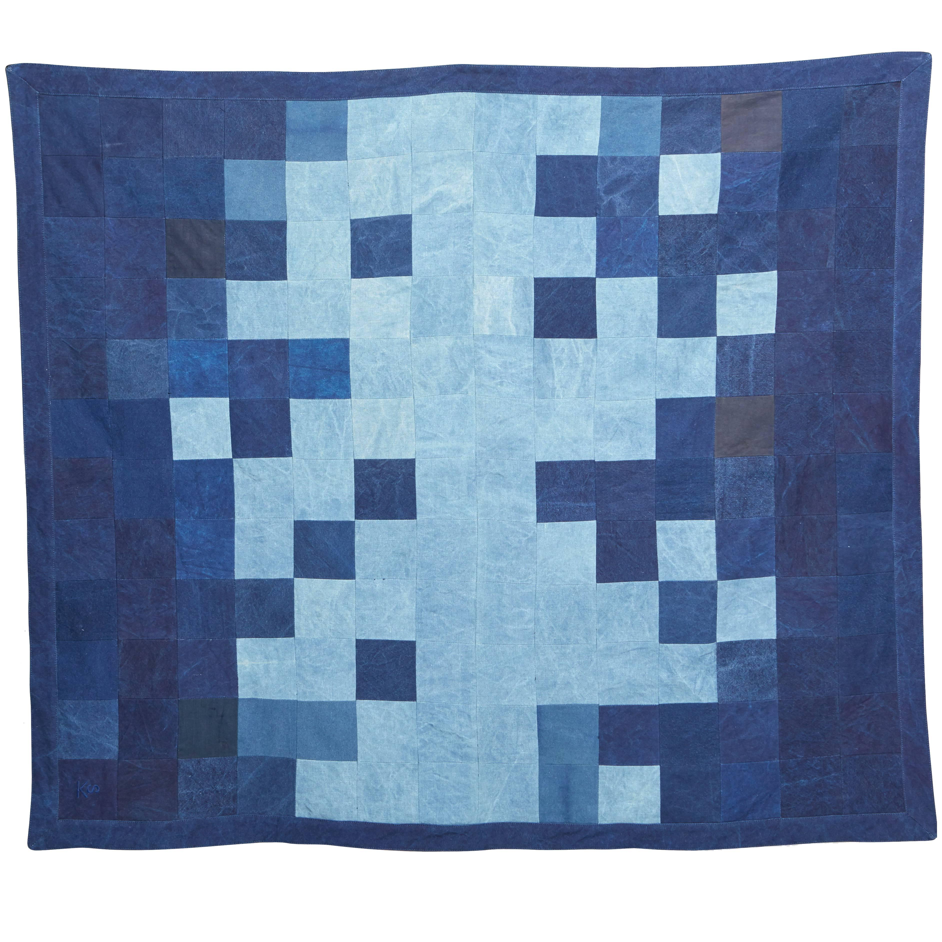 Quilted Indigo Canvas Throw Blanket V1