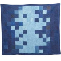 Quilted Indigo Canvas Throw Blanket