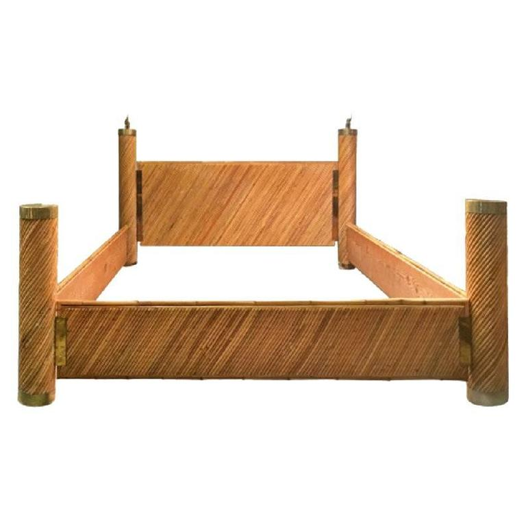 Bamboo Brass Bed by Marcello Mioni For Sale