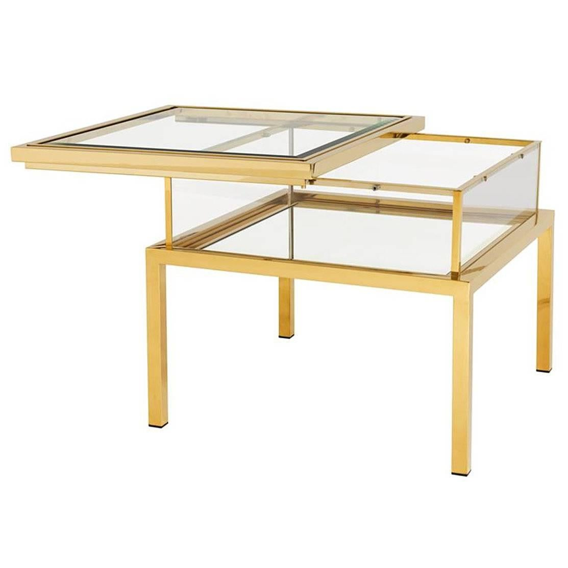 Slide Side Table In Gold Finish With Clear Glass And Mirror Glass Sliding  Top 1