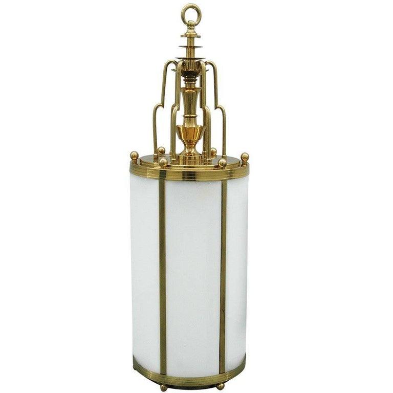 Large Art Deco Style Brass Lantern