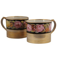Rare and Large Pair of Regency Mugs with Floral and Gilt Decoration