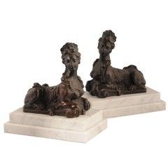 Pair of Louis XIV Bronze Sphinx Paperweights