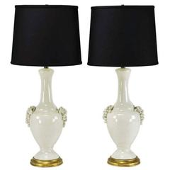 Pair of Fredrick Cooper White Glazed Ceramic Table Lamps with Grape Clusters