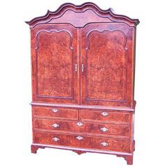 Antique Early 18th Century Burr Walnut Linen Press Cupboard