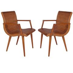 Mid-Century Modern Cane and Oak Danish Modern Style Armchairs After Hans Wegner