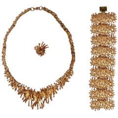 Brutalist Bronze Necklace Ring & Bracelet Set by Owe Johansson, Finland