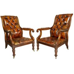 Pair of Late Regency Mahogany and Leather Armchairs