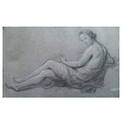 Charles-Joseph Natoire - Study for the Figure of the Music, 18th Century Drawing