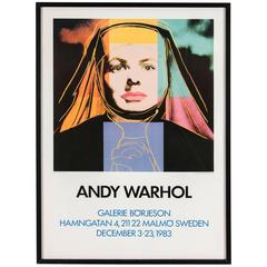 Vintage exhibition poster featuring Ingrid Bergman, after Andy Warhol