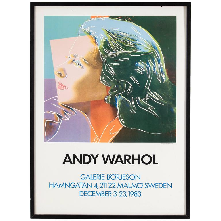 Vintage exhibition poster featuring Ingrid Bergman, after Andy ...
