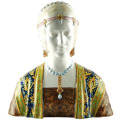 Angelo Minghetti Hand-Painted Majolica Bust