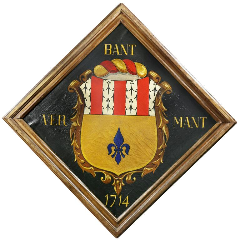 European Oil on Canvas Crest or Coat of Arms