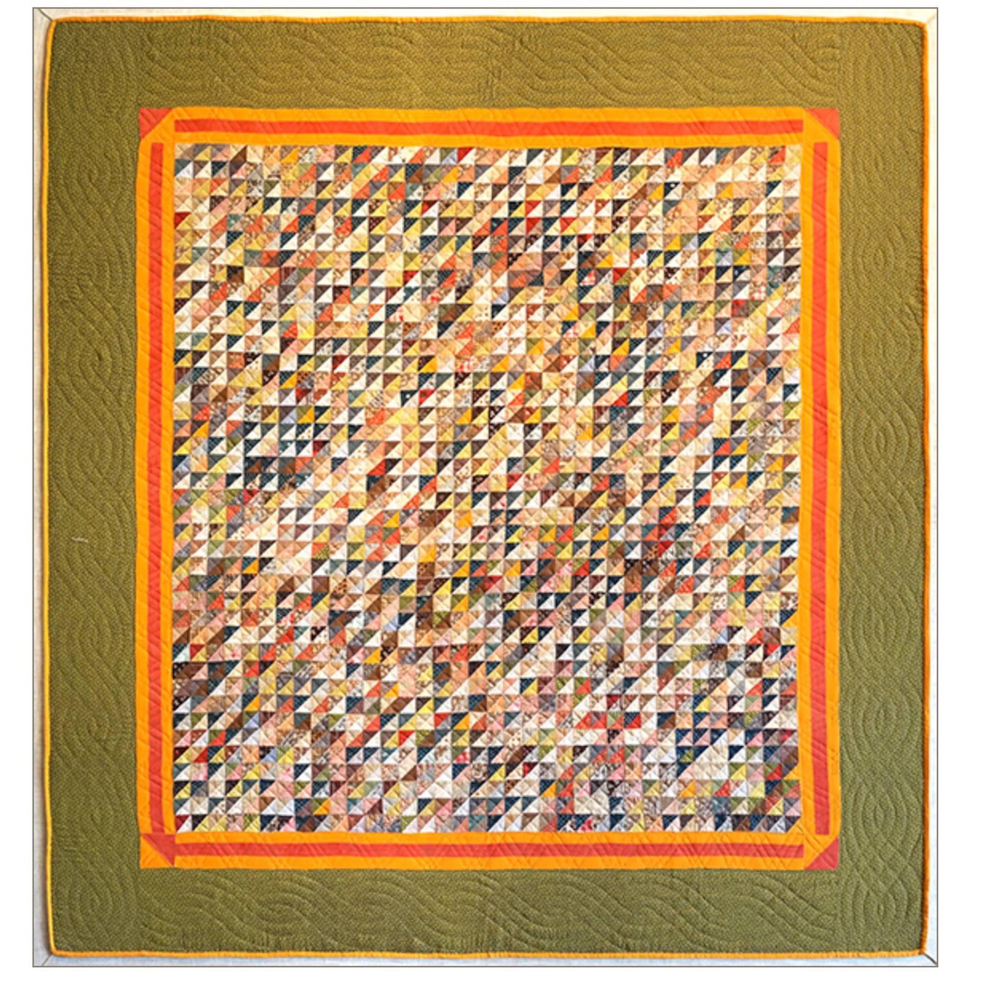 Monumental Micro Triangular Cut Feed Sack Folk Art Quilt Mounted on Canvas
