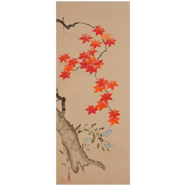 "Suzuki Kiitsu ""Maples"" Japanese Wall Panel Painting"