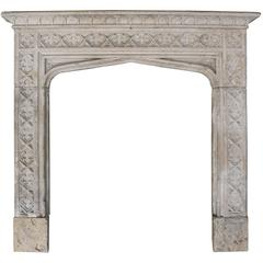 English Cotswold Limestone Gothic Fire Surround, circa 1860
