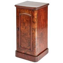 Good Quality Victorian Burr Walnut Bedside Cabinet