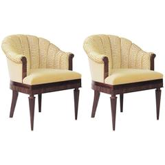 Pair of Original Iliad Design Scallop-Back Armchairs