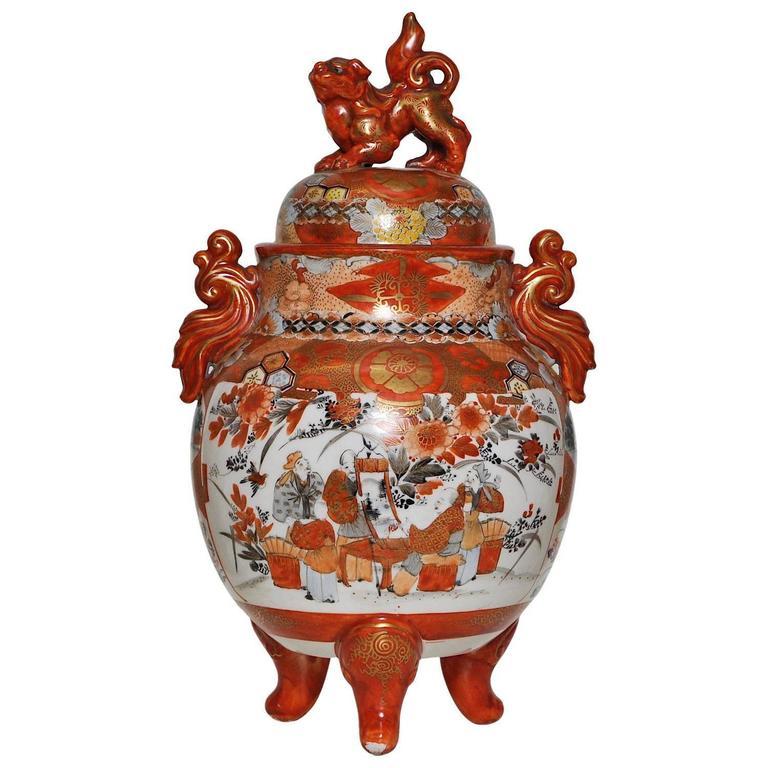 Japanese Kutani Porcelain Lidded Jar Vase In Red Black Yellow Orange