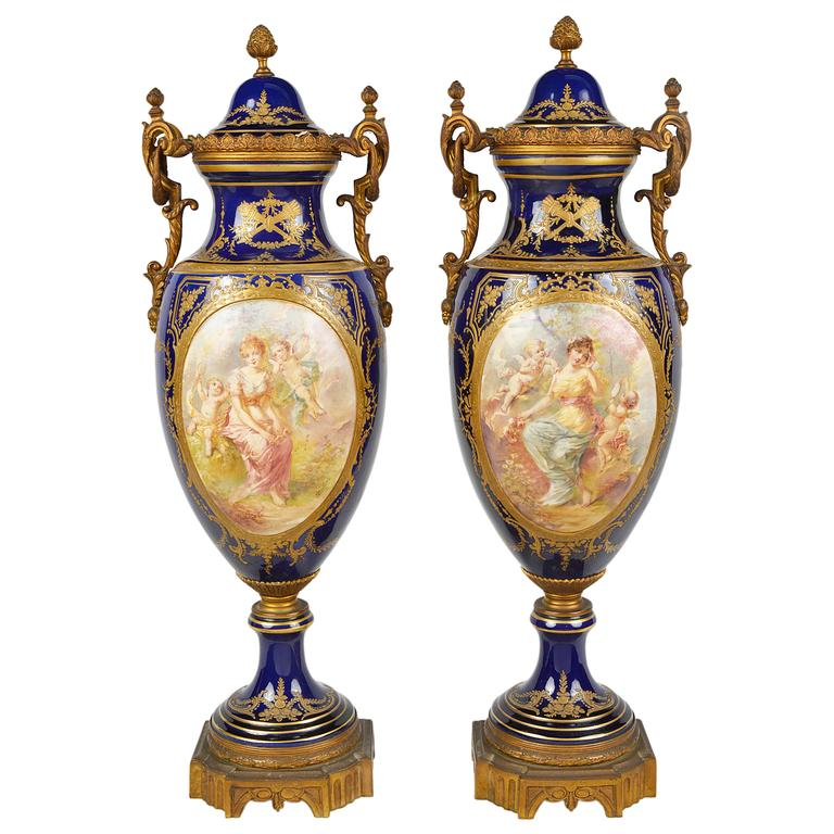 Pair Of 19th Century Svres Style Porcelain Vases For Sale At 1stdibs