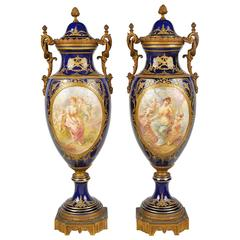 Pair of 19th Century Sèvres Style Porcelain Vases