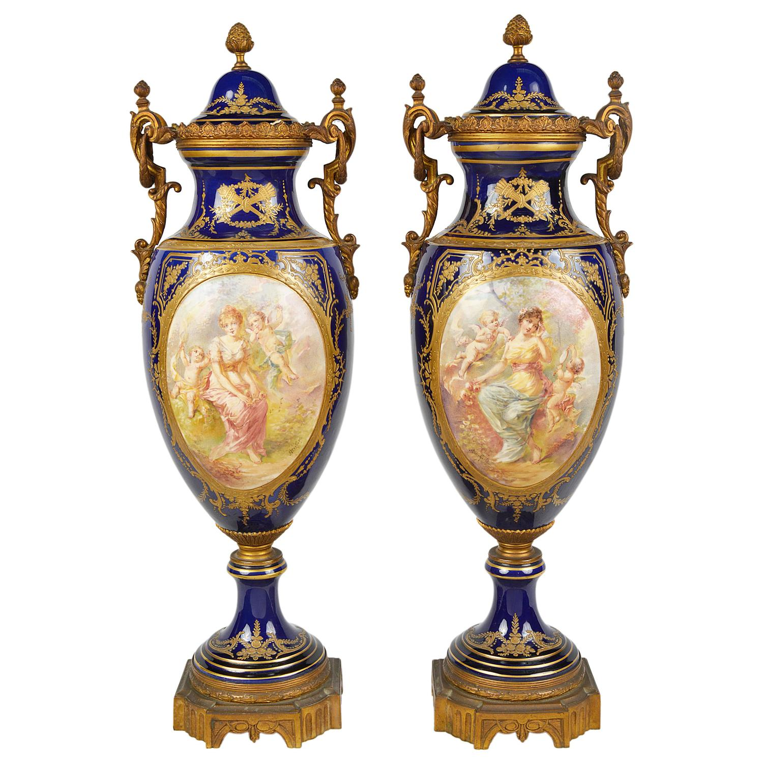 Pair of french sevres style louis xiv porcelain vases at 1stdibs pair of 19th century svres style porcelain vases reviewsmspy