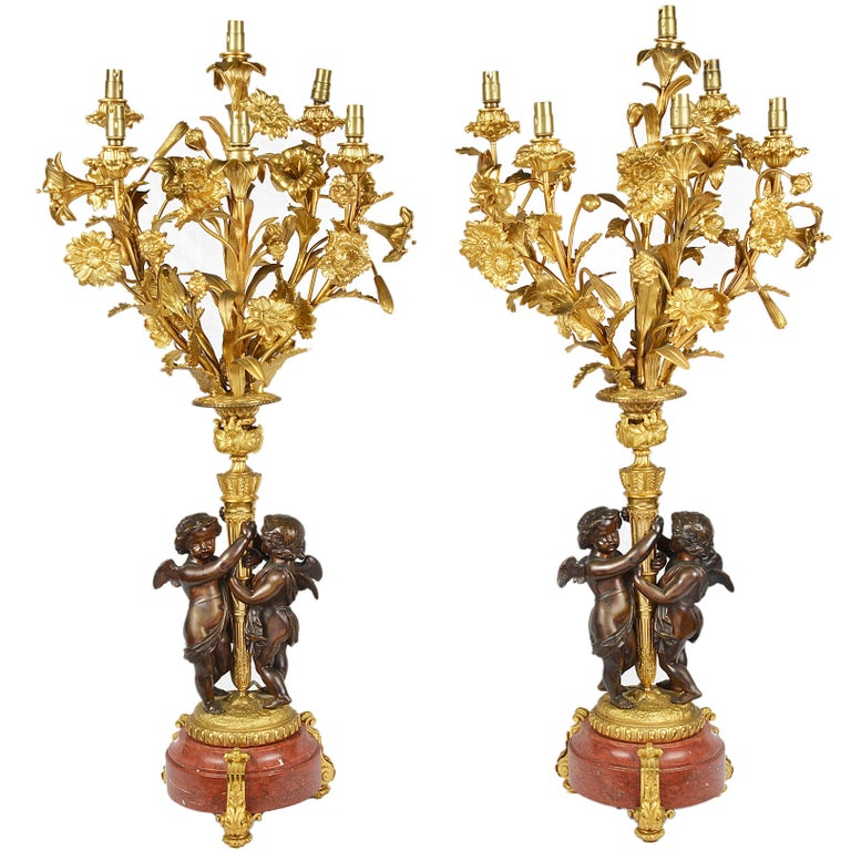 Large Pair of French Louis XVI Style Candelabra For Sale