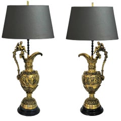 Pair of Figural Cherub & Rams Head French Neoclassical Bronze Ewer Table Lamps