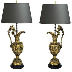 Pair of Figural Cherub & Ram's Head French Neoclassical Bronze Ewer Table Lamps