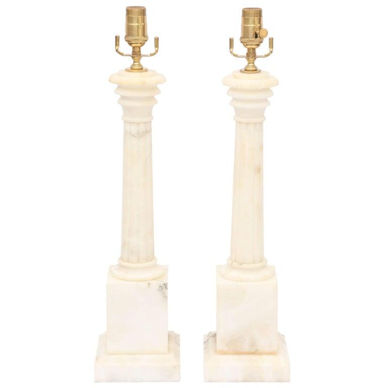 Pair of Columnar Alabaster Lamps