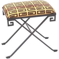 Iron Stool with Neoclassical Greek Key Decoration