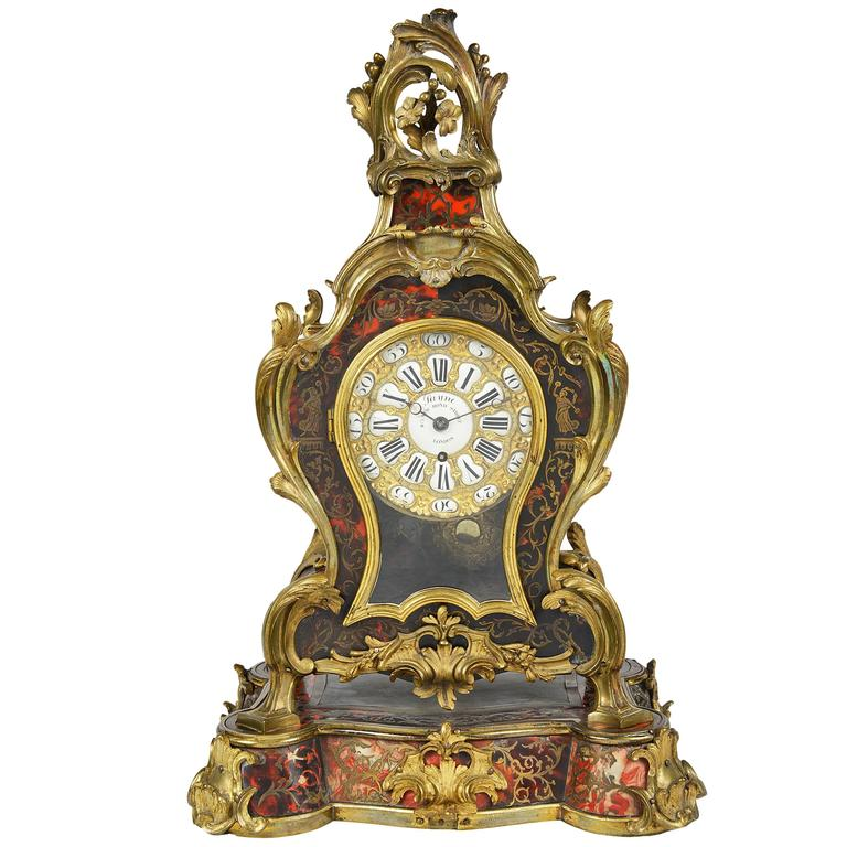 19th Century French Louis XV Style Boulle Mantel Clock