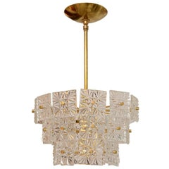 Brass Three Tier Chandelier Featuring Etched Square Glass Tiles by Kalmar