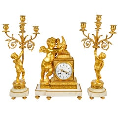 French Louis XVI Style Clock Garniture