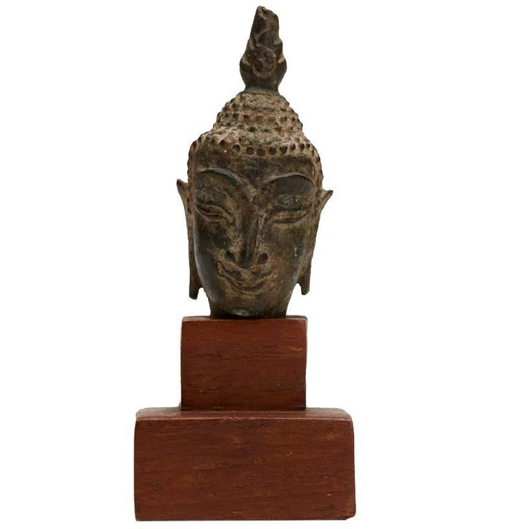 Thai Fragment of a Buddha Head Ayutthaya Period 15th Century For Sale