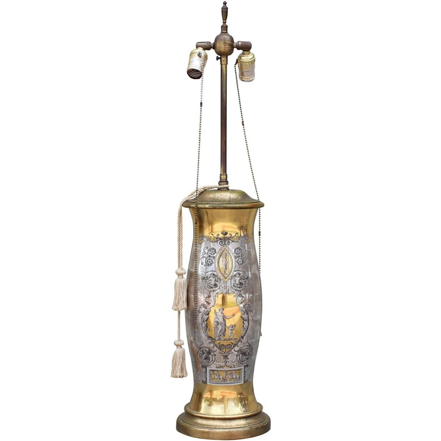 Tall Fornasetti Style Hollywood Regency Gold and Silver Lamp