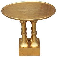Modern Hollywood Regency Gold Leaf Round Side Table