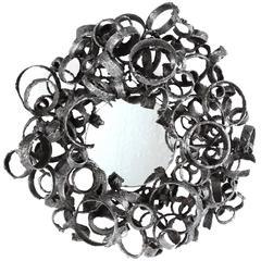 Torch-Cut Welded Steel Ring Mirror by James Bearden