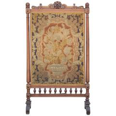 Neoclassical Style French Tapestry Fireplace Screen with Carved Detailing