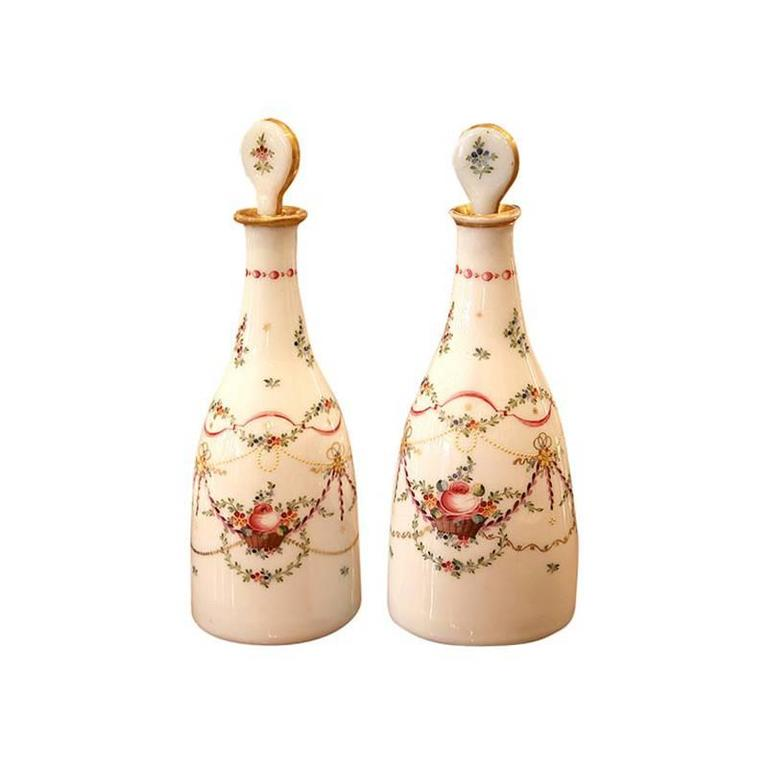 Pair of Hand-Painted Louis XVI Period Opaline Decanters