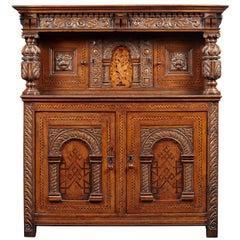 Elizabethan Oak and Inlaid Court Cupboard