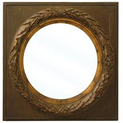 19th Century French Round Mirror with Square Frame
