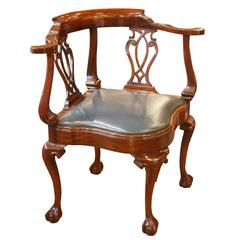 Attractive Vintage Mahogany Corner Chair With Leather Seat