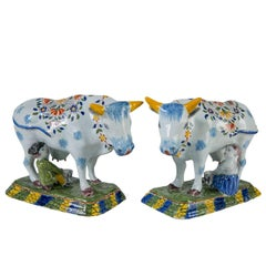 Pair of Dutch Delft Cows Painted in Bright Polychrome Colors