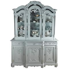 Large French Carved and Painted Display Cabinet