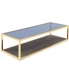 Borough Coffee Table in Gold Finish Ostrich Leather Style