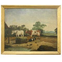 18th Century English Painting of Barnyard Scene