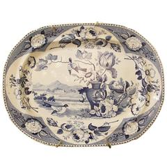 19th Century English Large Blue and White Platter